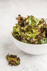 Kale Chips Glazed with Coconut Oil