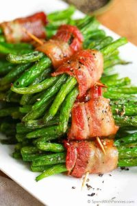 Bacon Green Bean Bundle is easy enough for a weeknight meal and pretty enough to impress your guests alongside a steak dinner
