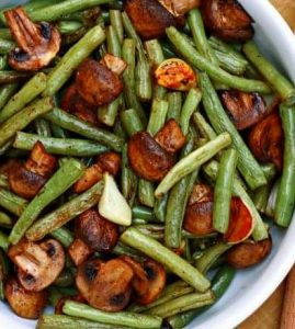 Balsamic Garlic Roasted Green Beans and Mushrooms is simple enough for every day dining side dish