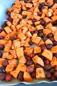 Cinnamon Roasted Sweet Potatoes and Cranberries are a great for all especially on thanksgiving