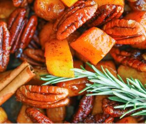 innamon Pecan Roasted Butternut Squash is with a little bit of maple syrup, brown sugar, cinnamon and a touch of nutmeg, this will be your favorite side dish for the entire season