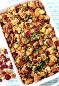 Sausage Stuffing with Dried Cranberry and nut