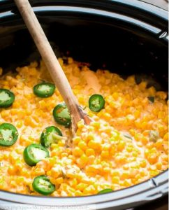 Slow Cooker Cheesy Jalopeno Corn a perfect side dish for a southern main dishes