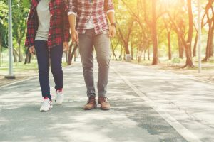 walking together in park to lose weight