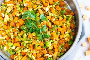 Skillet Brussel Sprouts and Sweet Potatoes