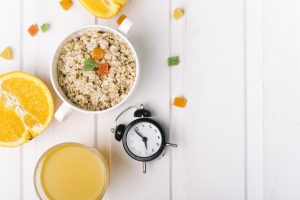Ready breakfast with clock