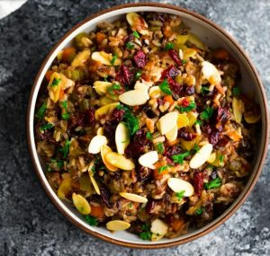 Thanksgiving Cranberry Almond Rice Pilaf