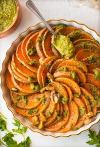 Roasted Butternut Squash With Walnuts Parsley Pesto