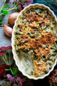 Thanksgiving Cheddar Green Bean Casserole