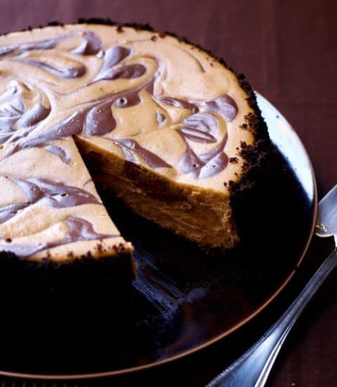 Swirled Pumpkin and Chocolate Cheesecake