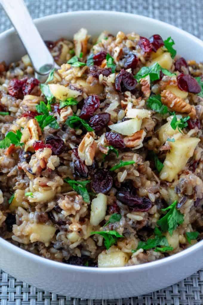 Slow Cooker Cranberry Apple Pecan Wild Rice Pilaf