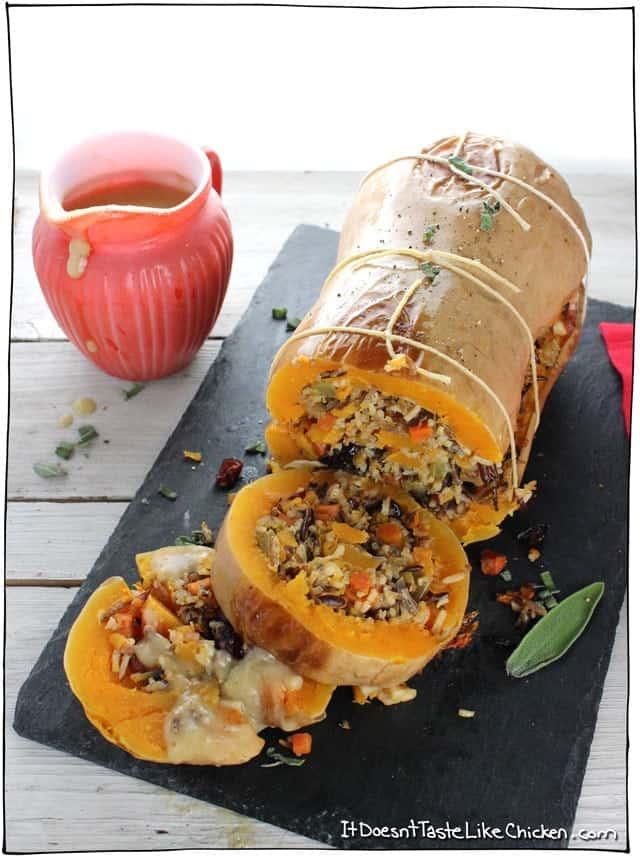 Thanksgiving Vegetarian Stuffed Roasted Butternut Squash