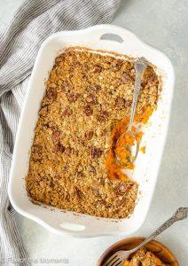 Maple Orange Sweet Potato Casserole with Oat-Pecan Streusel