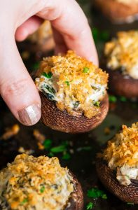 Thanksgiving Cheesy Spinach Stuffed Mushrooms