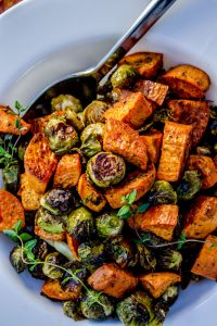 Thanksgiving Roasted Sweet Potatoes and Brussels Sprouts