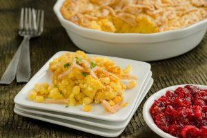 Crispy Onion Corn Spoonbread serve during thanksgiving