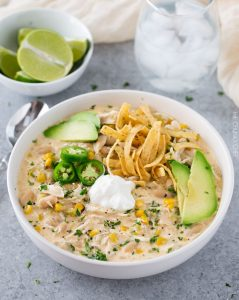 Healthy Thanksgiving Crockpot Creamy White Chicken Chili